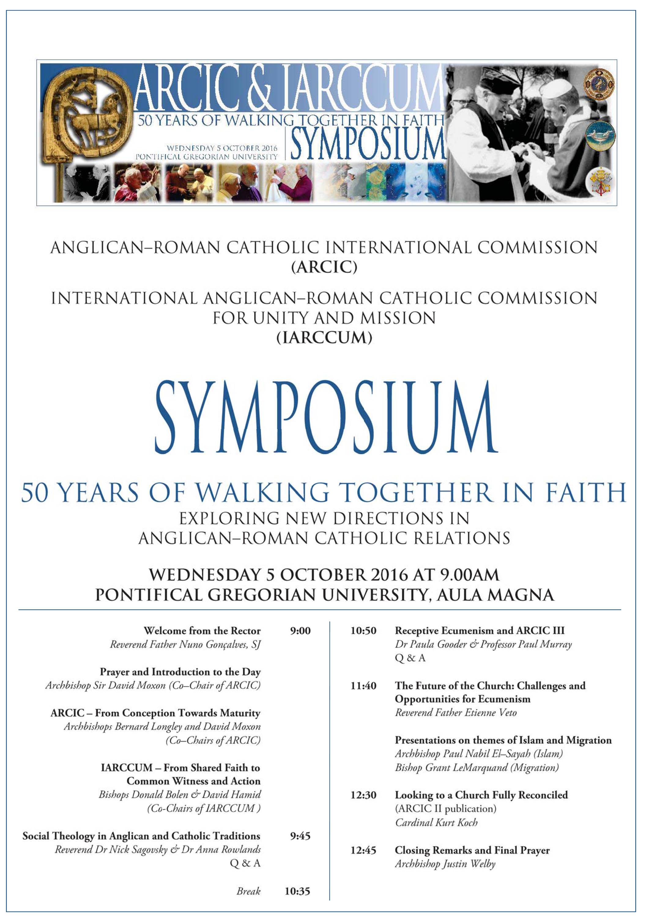 Schedule for the Symposium - ARCIC & IARCCUM: 50 years of walking together in faith