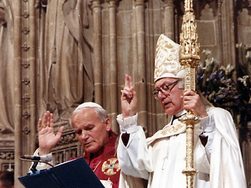 Pope John Paul II and Archbishop of Canterbury Robert Runcie at Canterbury