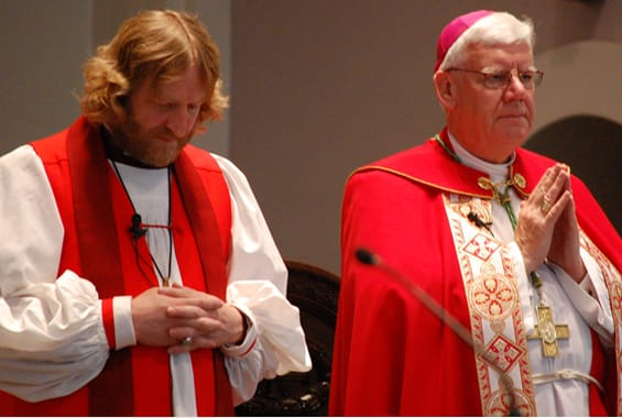Bishop Gregory Kerr-Wilson of the Anglican Diocese of Qu'Appelle and Archbishop Daniel Bohan of the Archdiocese of Regina celebrate an ecumenical covenant service on Pentecost