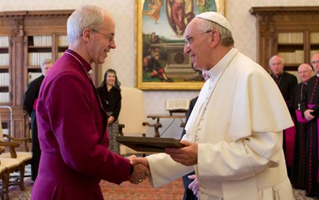 Archbishop of Canterbury, Justin Welby greets Pope Francis during visit to Rome (June 14, 2013)