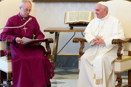 Archbishop Welby reading his address to Pope Francis