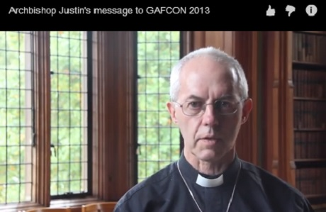 Still photo from video address to GAFCON by Archbishop of Canterbury, Justin Welby