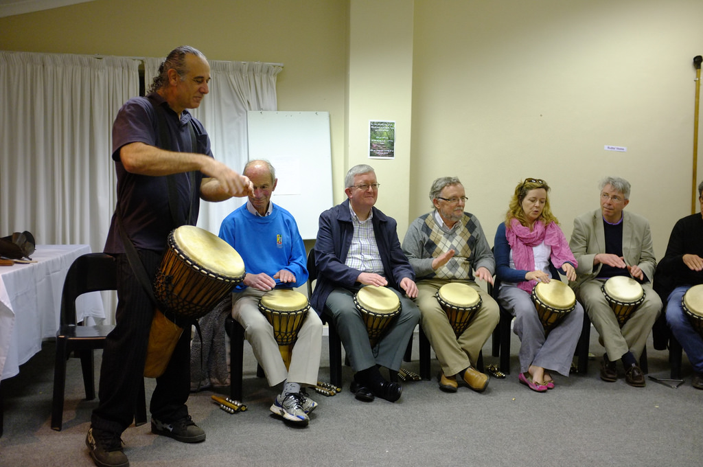 Playing the djembe at the ARCIC III meeting in Durban, South Africa (2014)