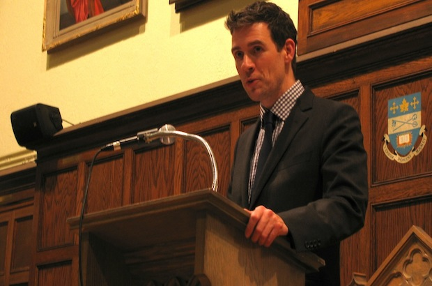 Ambassador Andrew Bennett addresses Wycliffe College and St. Augustine Seminary students at Wycliffe College. Photo: André Forget