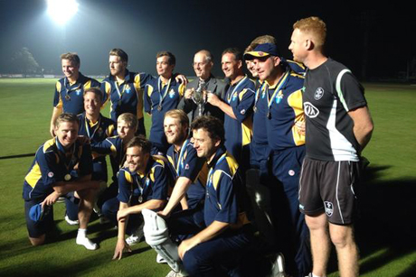 The Archbishop of Canterbury with the triumphant Anglican XI at Kent County Cricket Ground, 19 September 2014