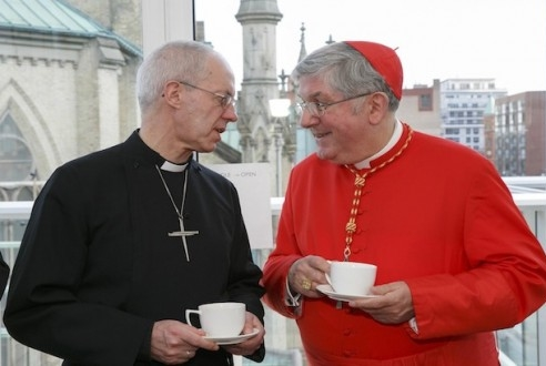 The Archbishop of Canterbury, Justin Welby, and the Roman Catholic Archbishop of Toronto, Cardinal Thomas Collins, at an ecumenical reception in St. James Cathedral Centre. Welby visited the Anglican Church of Canada, April 7 to 8. Photo: Michael Hudson