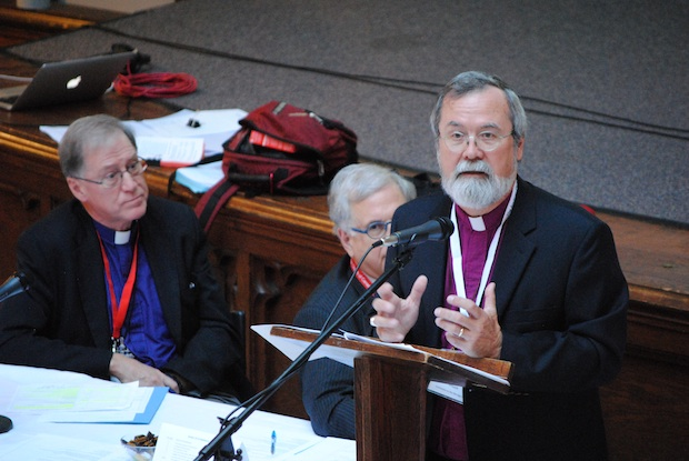Archbishop John Privett, a member of the Commission on the Marriage Canon, presents a section of the report to Council of General Synod. Photo: André Forget