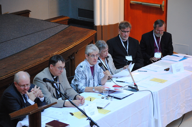 Commission  members present their report to Council of General Synod members (L to R): Stephen Martin, Canon Paul Jennings, Bishop Linda Nicholls, Patricia Bays, The Rev. Paul Friesen and Archbishop John Privett. Photo: André Forget