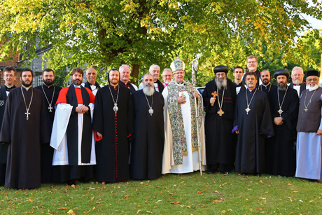 Members of the Anglican-Oriental Orthodox International Commission outside St. Asaph Cathedral, Wales