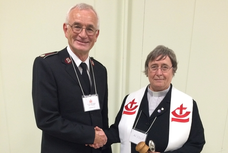 Canon Dr Barnett-Cowan (right) with her CCC predecessor Lt. Col. Champ. Photo: Bruce Myers
