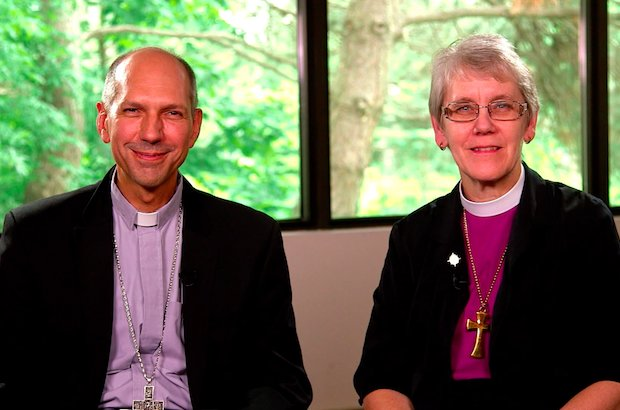 Bishop Donald Bolen and Bishop Linda Nicholls, the Roman Catholic and Anglican co-chairs of the Anglican-Roman Catholic Dialogue of Canada (ARC). Photo: Salt + Light TV