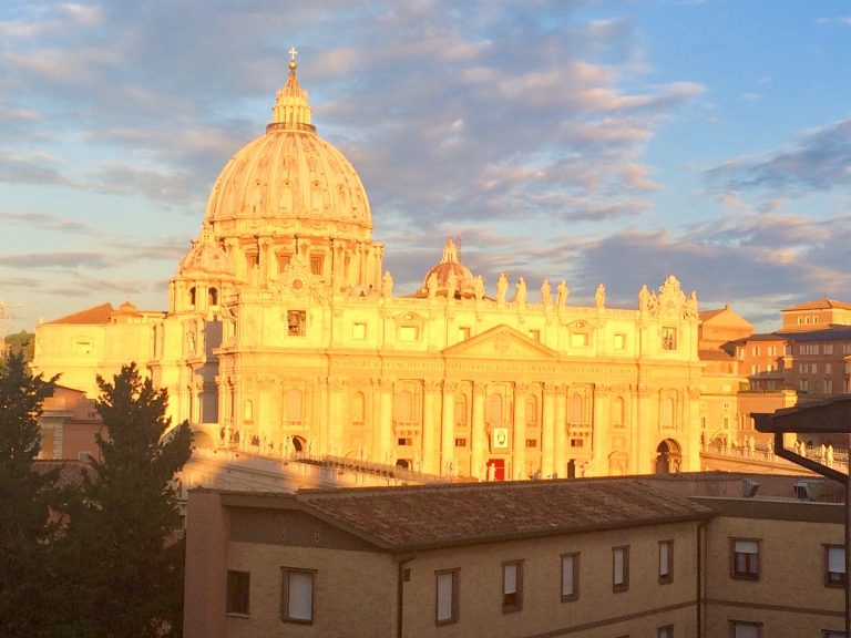 A view of St. Peter's Basilica near sunset from the conference centre Centro Internazionale Animazione Missionaria. Photo: Bishop John Bauerschmidt