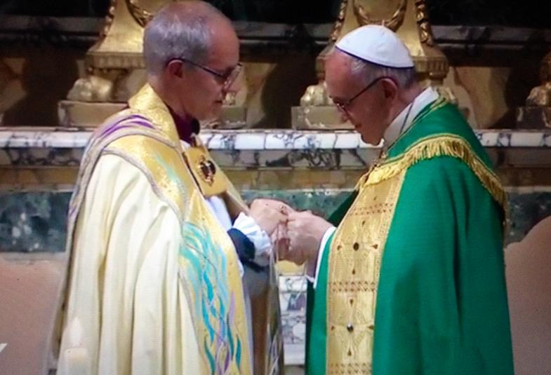 Archbishop Justin Welby gave Pope Francis a cross of nails from Coventry Cathedral