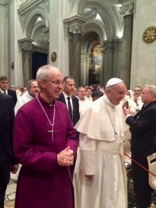 Archbishop Justin Welby and Pope Francis entering San Gregorio al Celio for the ecumenical vespers