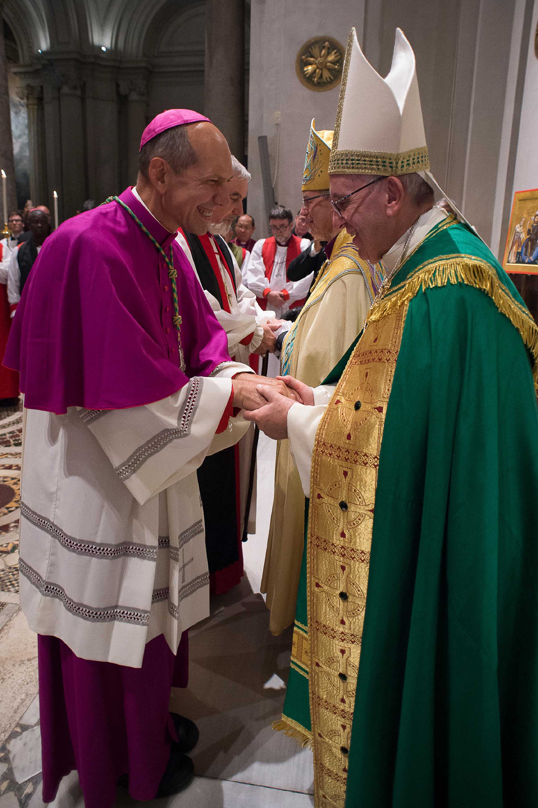 Pope Francis commissions Archbishop Donald Bolen, co-chair of IARCCUM, at the Vespers in San Gregorio al Celio
