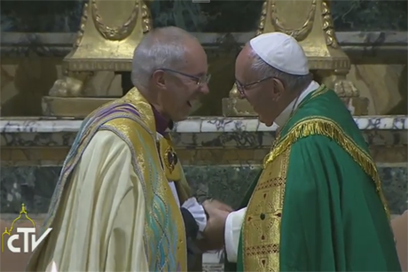Archbishop Justin Welby and Pope Francis, pictured during Vespers at the Church of Saint Gregory, Rome, have issued a Common Declaration in which they say that 'serious obstacles' to full unity will not deter Anglicans and Roman Catholics from working together in joint mission. Photo: Vatican Television