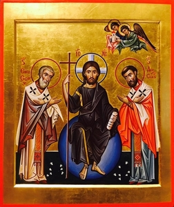 The icon of St. Gregory the Great and St. Augustine of Canterbury. This icon was placed beside the altar during the Ecumenical Vespers at San Gregorio al Celio