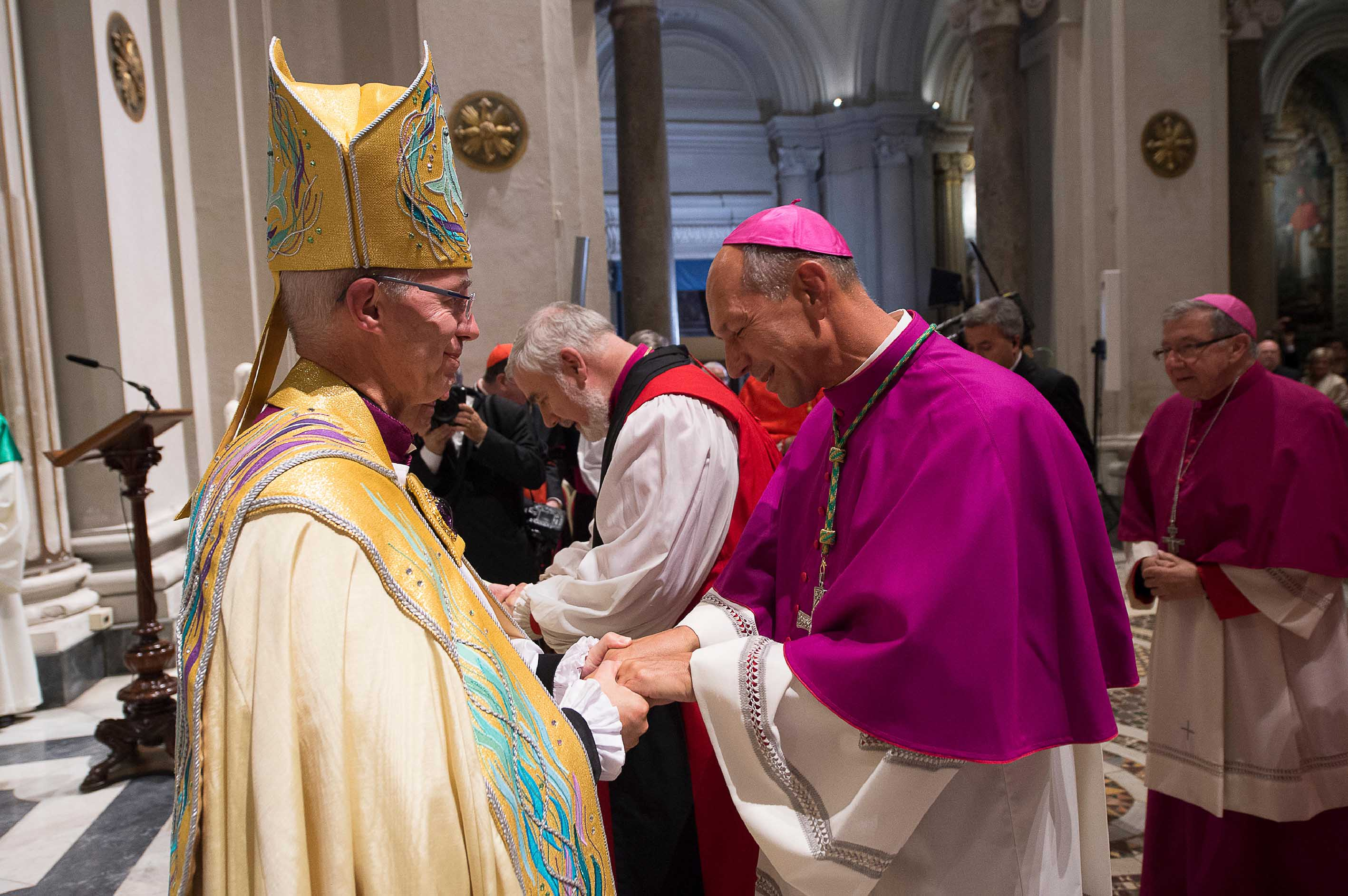 Archbishop Justin Welby commissions Archbishop Donald Bolen, co-chair of IARCCUM, at the Vespers in San Gregorio al Celio