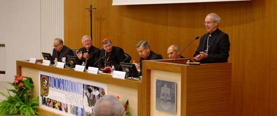 Archbishop Justin Welby speaking at the symposium at the Gregorian University
