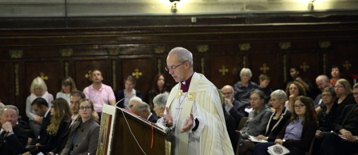 Archbishop Justin Welby preaches at Ecumenical Vespers at the Oratory of San Francesco Saverio 'del Caravita'