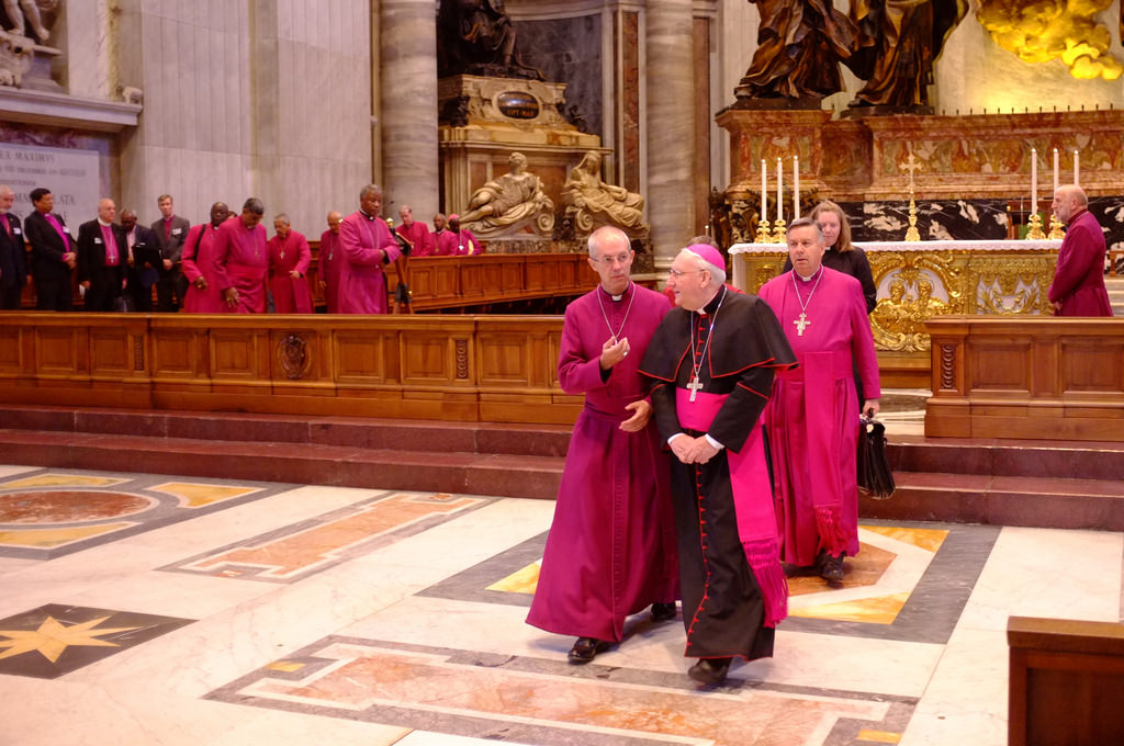 Archbishop Justin Welby and Bishop Brian Farrell after morning Mass at St. Peter's Basilica