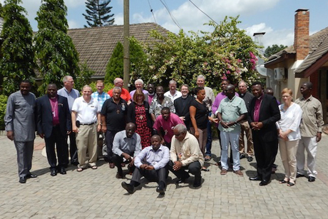 Some of the 24 bishops and support staff pose for a group photo in Accra, Ghana, at the 7th Consultation of Anglican Bishops in Dialogue. Photo: Paul Feheley/Anglican Church of Canada