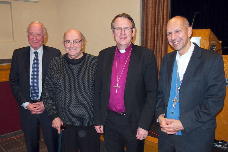 Bishop Kenneth Kearon, Anglican bishop of Limerick and Killaloe, was the speaker for the De Margerie series on Christian Unity and Reconciliation. Pictured here: Dr. Terry Downey, President of St. Thomas More College, Fr. Bernard de Margerie, Bishop Kearon, and Bishop Donald Bolen, bishop of Saskatoon