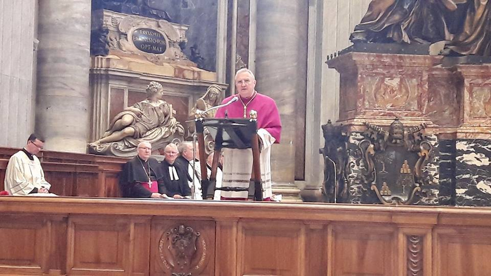 Archbishop Arthur Roche preaching at the first ever Anglican Evensong in St Peter's Basilica