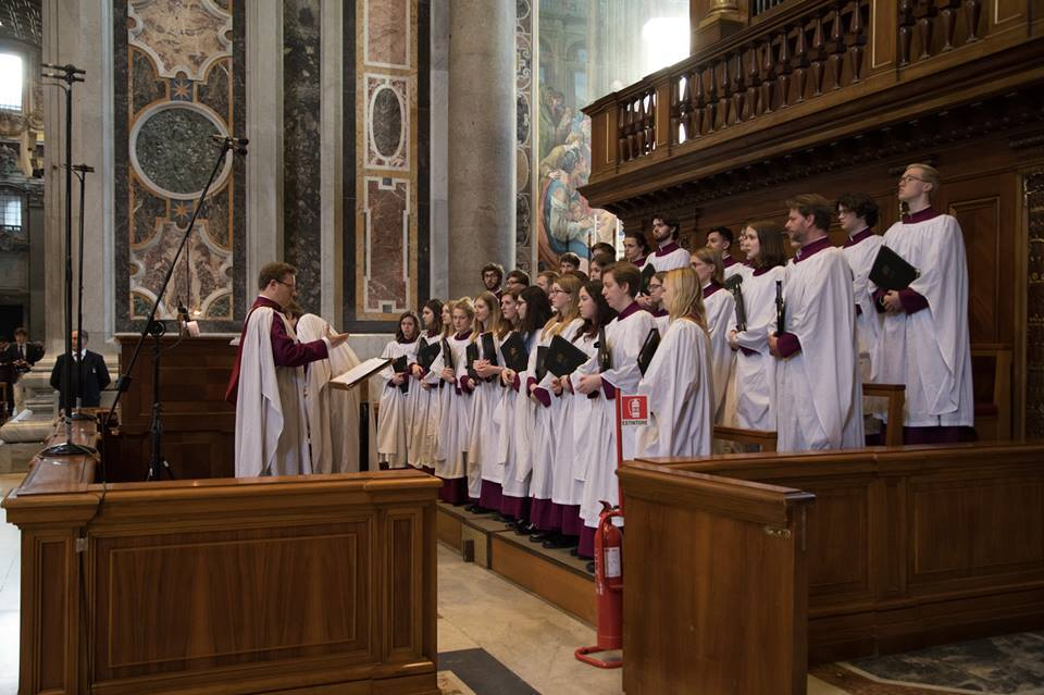 The choir of Merton College, Oxford sang a traditional Anglican Choral Evensong in St Peter's Basilica.