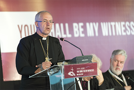 Archbishop Justin Welby addresses the General Assembly of the Conference of European Churches in Novi Sad, Serbia, on Saturday. Photo: Albin Hillert/CEC