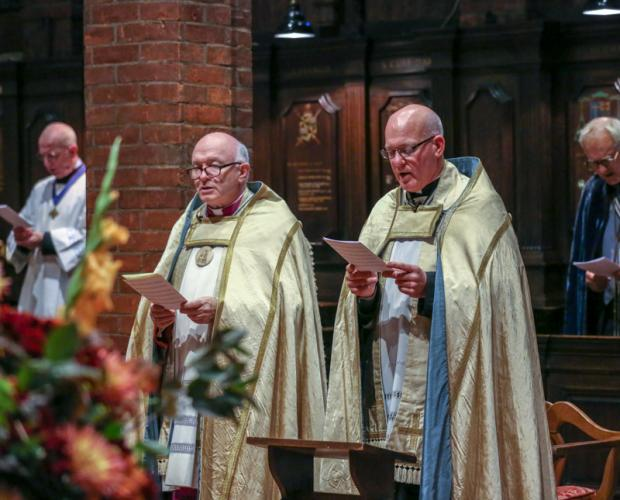 Fr Kevin Smith (Priest Administrator of the Anglican Shrine) and Mgr John Armitage (Rector of the Roman Catholic Shrine) at the signing of an ecumenical covenant for the Anglican and Catholic shrines to Our Lady of Walsingham