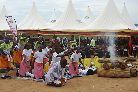 School students perform a play telling the story of the Ugandan Martyrs in Munyonyo earlier this month as part of commemorations leading up to Sunday's anniversary. Photo: Diocese of Namirembe
