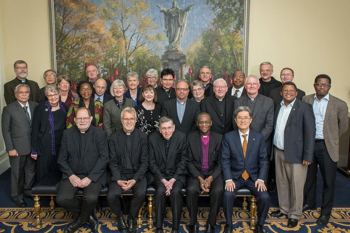 The representatives of five Christian World Communions - Anglicans, Catholics, Lutherans, Methodists and the Reformed - at the Notre Dame Consultation. Photo: Steve Toepp / University of Notre Dame