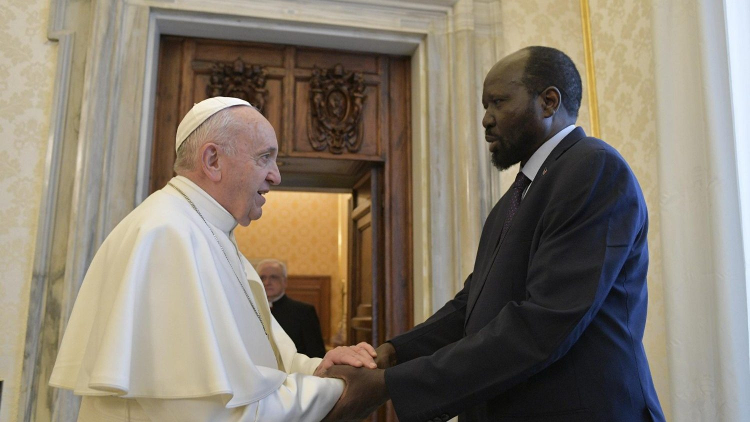 Pope Francis meets South Sudan's President Salva Kiir in March 2019. Photo: Vatican Media