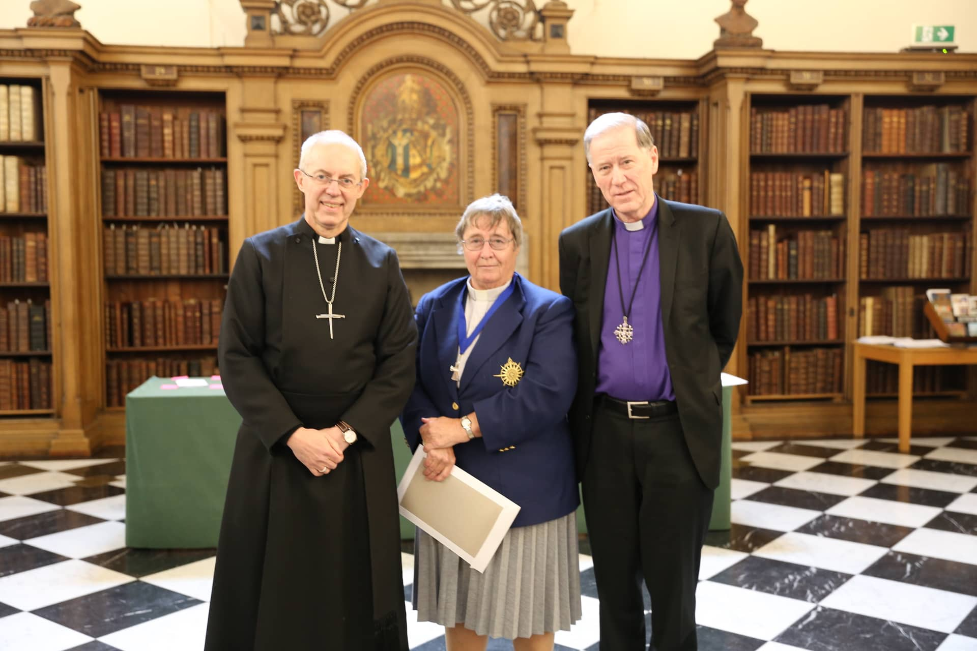 The Reverend Canon Alyson Barnett-Cowan, past president of the Canadian Council of Churches, was awarded the Lambeth Cross for Ecumenism recently by the worldwide Anglican Communion for her longstanding commitment to promoting dialogue and discussion among Canada's Christian communities. She received her award from the Archbishop of Canterbury, Archbishop Justin Welby, and Archbishop Fred Hiltz, Primate of the Anglican Church in Canada
