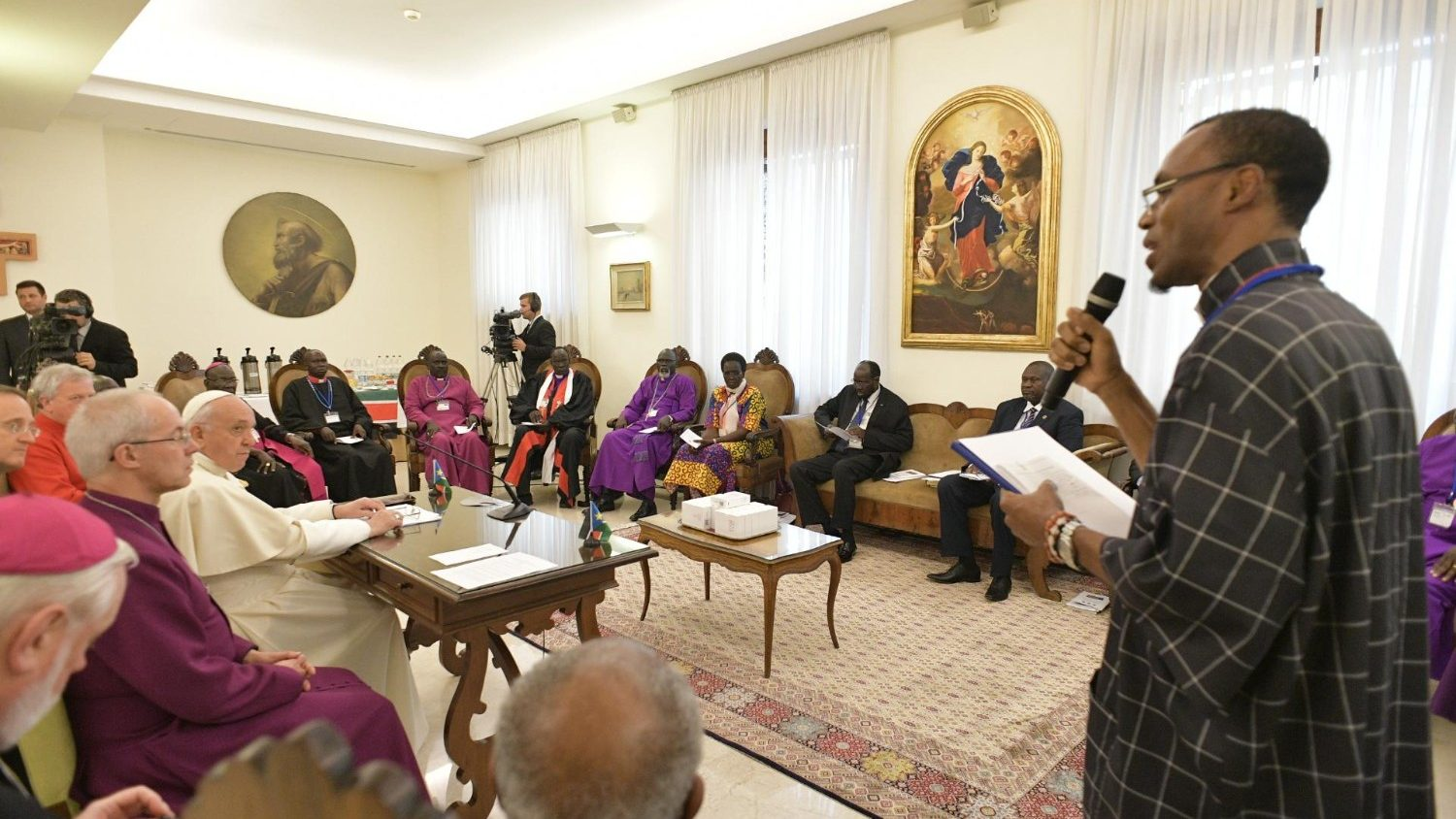 On April 10 and 11, Pope Francis and Archbishop Justin Welby led a retreat for the political and religious leaders of South Sudan. Photo: Servizio Fotografico - Vatican Media