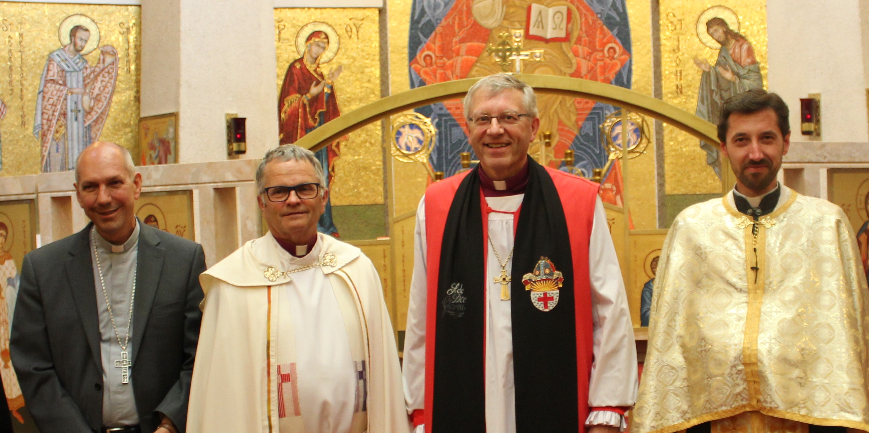 Archbishop Donald Bolen, Bishop Sid Haugen, Bishop Robert Hardwick, and Fr. Vasyl Tymishak at the annual covenant service for Anglican and Roman Catholic churches in southern Saskatchewan (Canada). The covenant will be expanding to include the Evangelical Lutheran Church in Canada and the Ukrainian Catholic Church in 2020