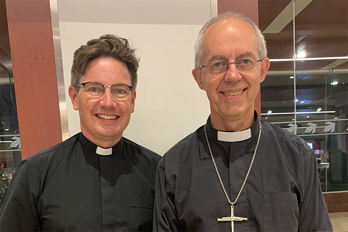 The Revd Dr Will Adam with the Archbishop of Canterbury, Justin Welby, in India yesterday.