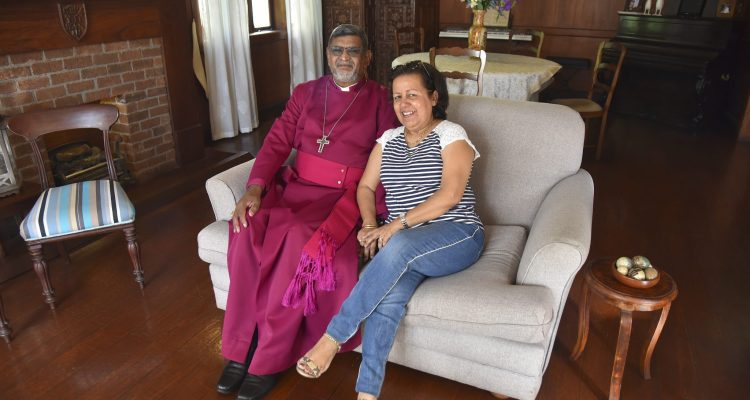 Archbishop Ian and Kamla Ernest at their home in Mauritius. Archbishop Ian was appointed Director of the Anglican Centre in Rome in 2019
