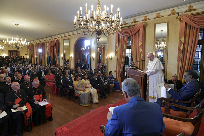 Pope Francis delivers a speech in Port Louis on 9 September 2019 during his visit to Mauritius. Photo: Vatican Media/Reuters