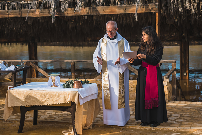 A new Communion-wide Eucharistic liturgy prepared by the Task Group was used for the first time during a service for Primates on the shores of the River Jordan. Photo: Alex Baker/ACNS