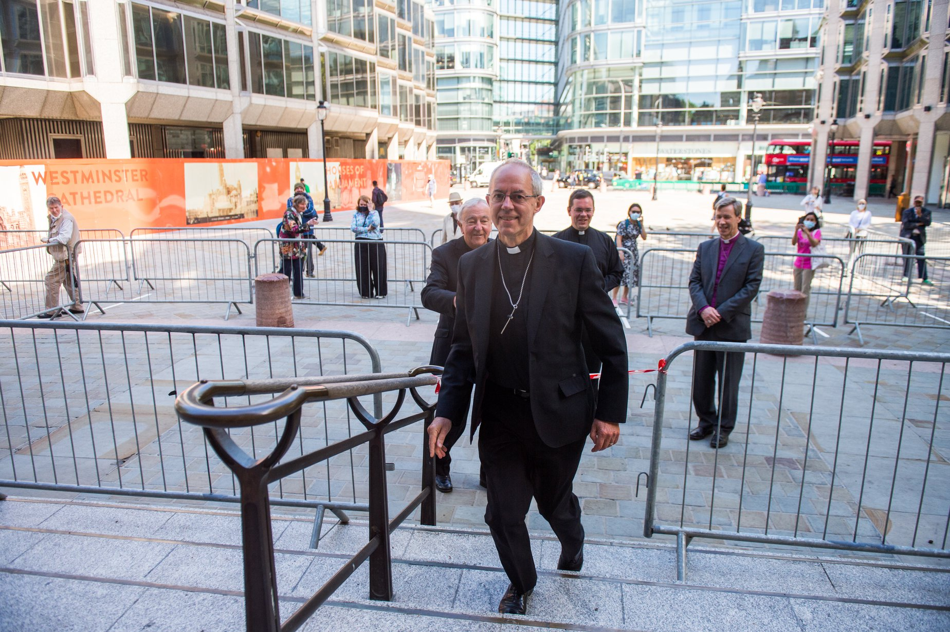 Archbishop Justin Welby and Cardinal Vincent Nichols entering Westminster Abbey on the first day of re-opening after the COVID-19 shutdown