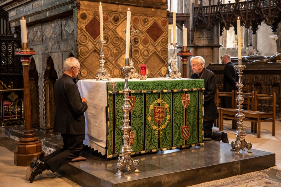 Archbishop Justin Welby and Cardinal Vincent Nichols pray at the Shrine of St Edward the Confessor in Westminster Abbey on the first day of re-opening after the COVID-19 shutdown