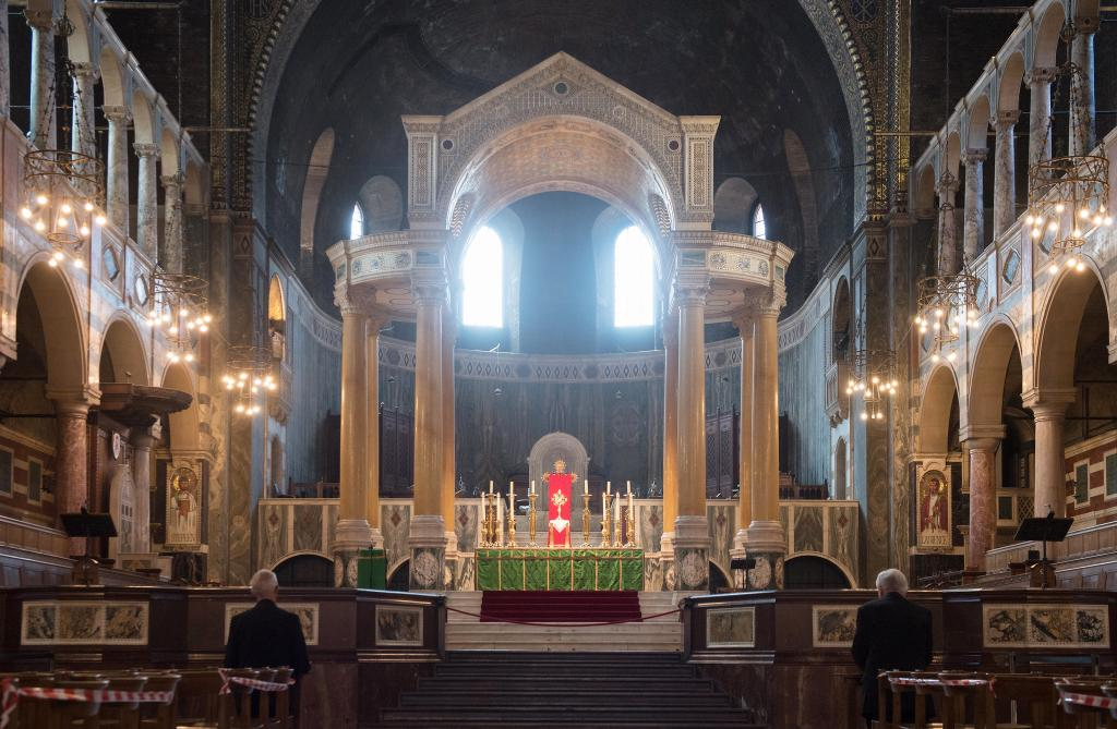 Cardinal Vincent Nichols and Archbishop Justin Welby praying at Westminster Cathedral on the first day of re-opening after COVID-19 shutdown