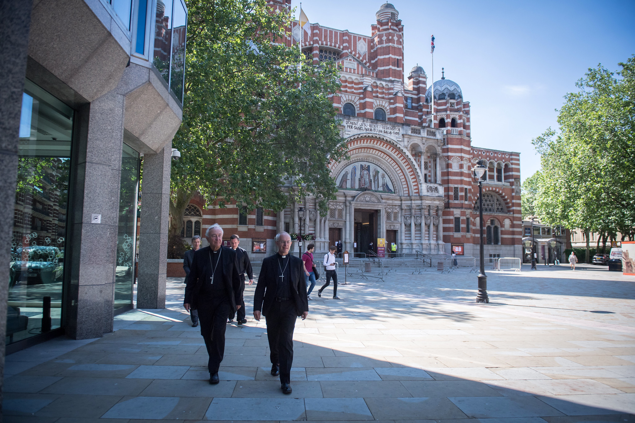 Cardinal Vincent Nichols and Archbishop Justin Welby walking from Westminster Cathedral to Westminster Abbey