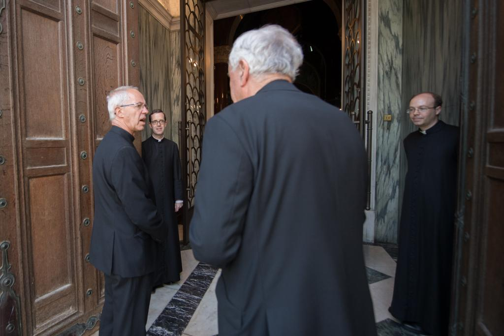 Cardinal Vincent Nichols welcomes Archbishop Justin Welby to Westminster Cathedral on the first day of re-opening after the COVID-19 shutdown